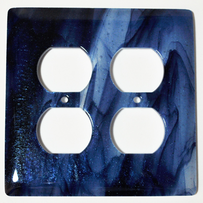 Hot Knobs WP2008-2GR Swirls Metalic Blue Clear Swirl 2 Gang Receptical Wall Plate
