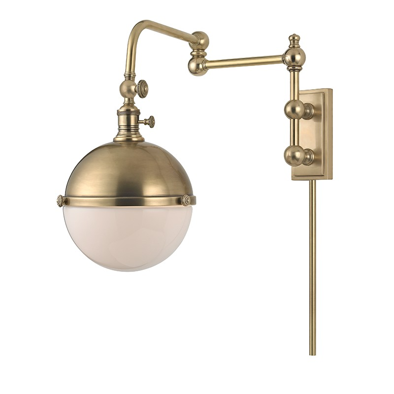 Hudson Valley 1672-AGB STANLEY-WALL SCONCE in Aged Brass