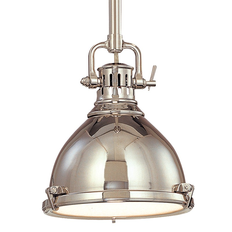 Hudson Valley Lighting 2211-PN Pelham 1 Light Pendant in Polished Nickel