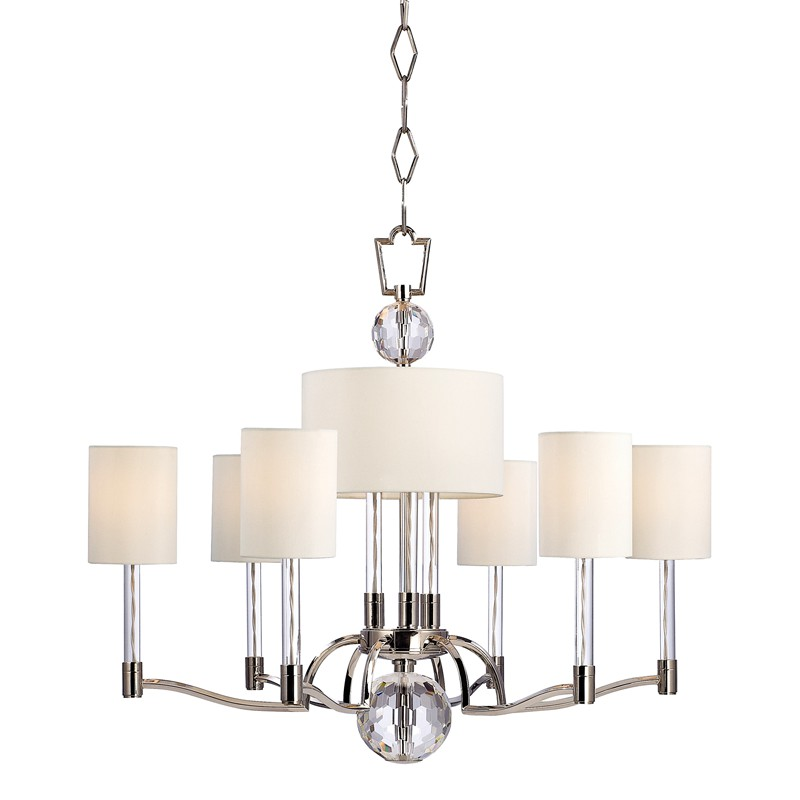 Hudson Valley Lighting 3006-PN Waterloo 9 Light Chandelier in Polished Nickel
