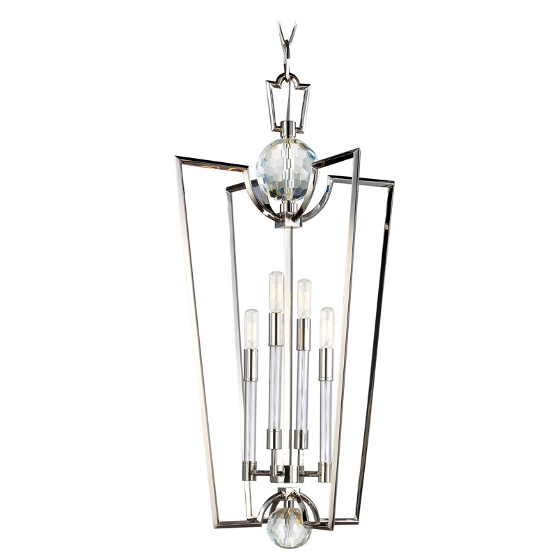 Hudson Valley Lighting 3017-PN Waterloo 4 Light Chandelier in Polished Nickel