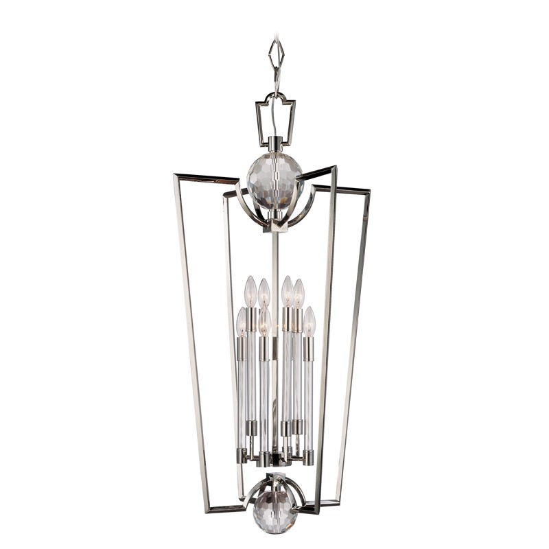 Hudson Valley Lighting 3022-PN Waterloo 8 Light Pendant in Polished Nickel