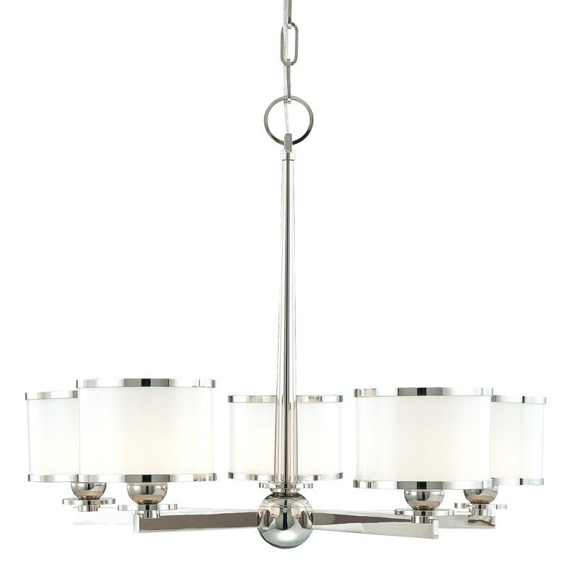 Hudson Valley Lighting 6115-PN Basking Ridge 5 Light Chandelier in Polished Nickel