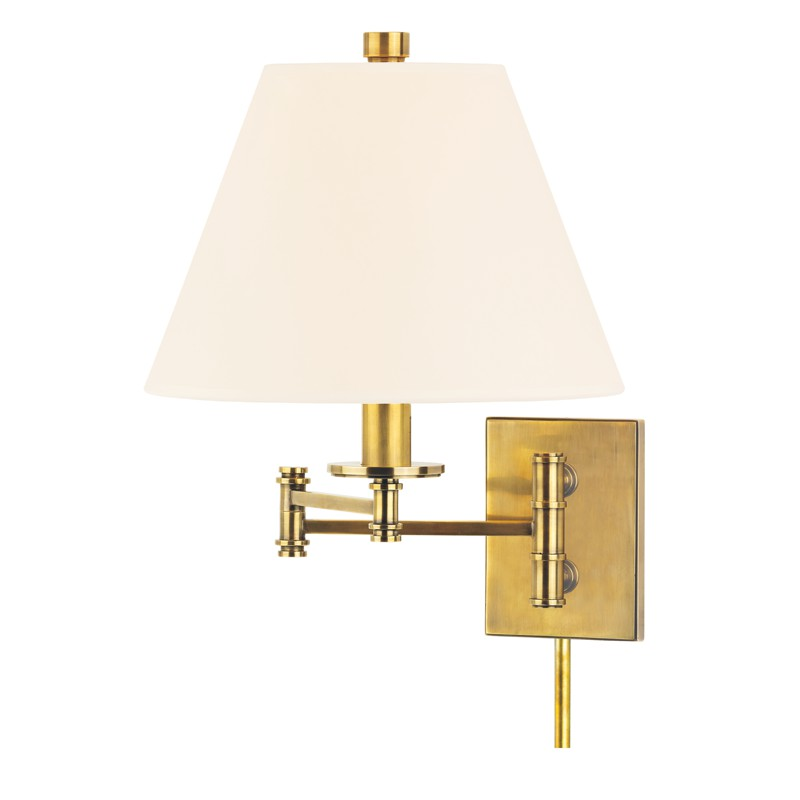 Hudson Valley Lighting 7721-AGB-WS Claremont 1 Light Wall Sconce in Aged Brass