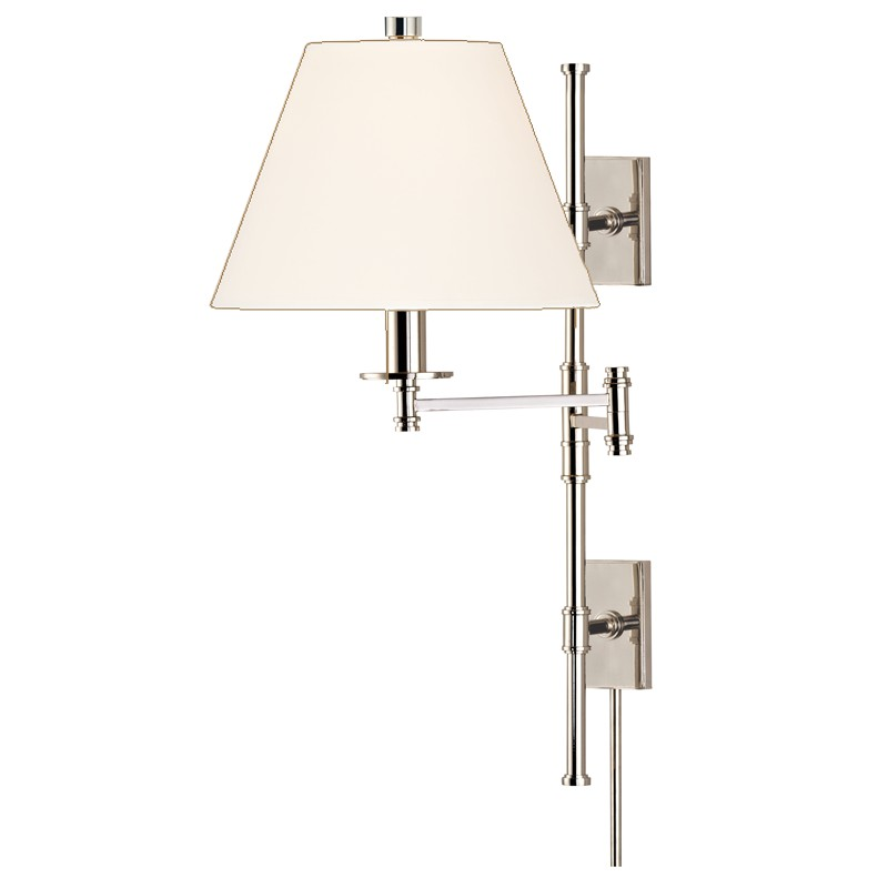 Hudson Valley Lighting 7731-PN-WS Claremont 1 Light Wall Sconce in Polished Nickel