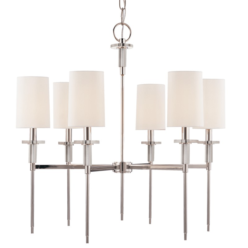 Hudson Valley Lighting 8516-PN Amherst 6 Light Chandelier in Polished Nickel