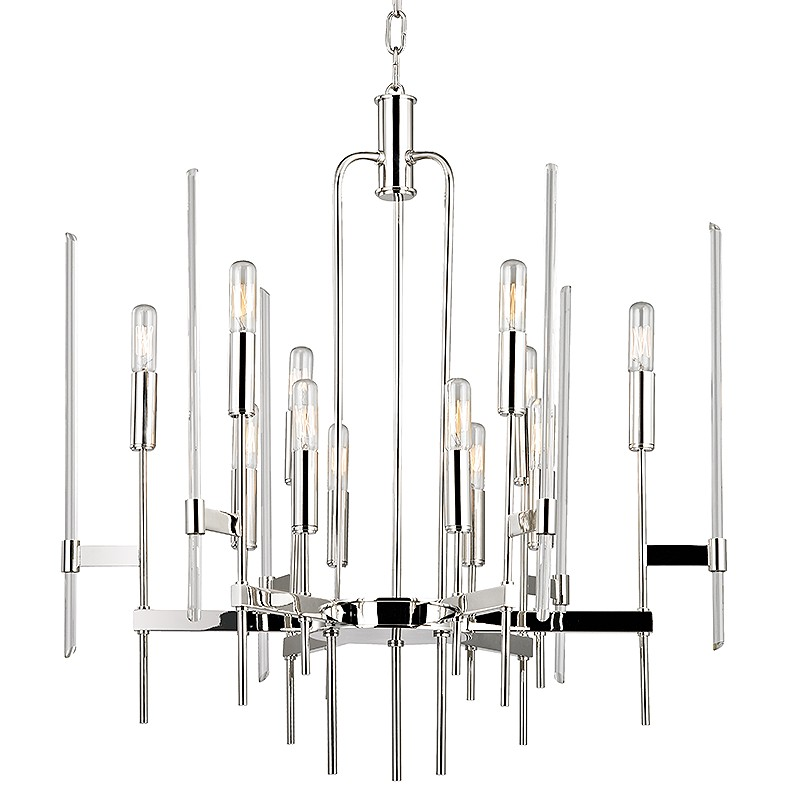 Hudson Valley Lighting 9912-PN Bari 12 Light Chandelier in Polished Nickel