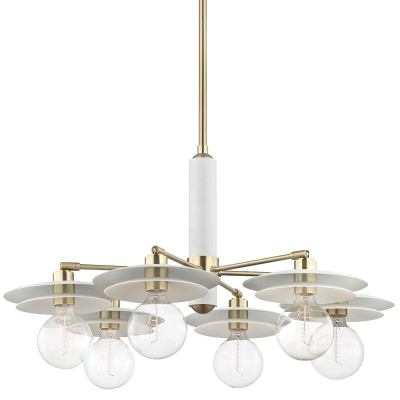 Mitzi by Hudson Valley Lighting H175806-AGB/WH MILLA 6 Light Chandelier