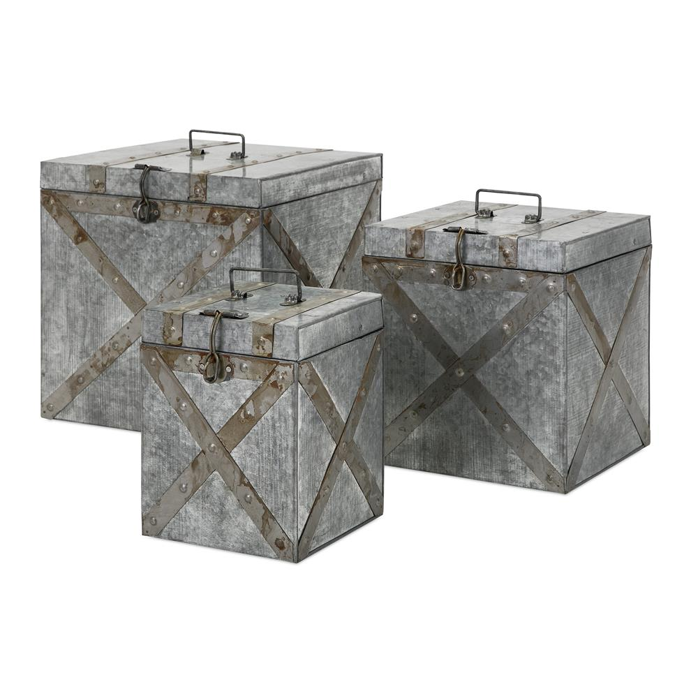IMAX 14400-3 Parry Galvanized Trunks - Set of 3