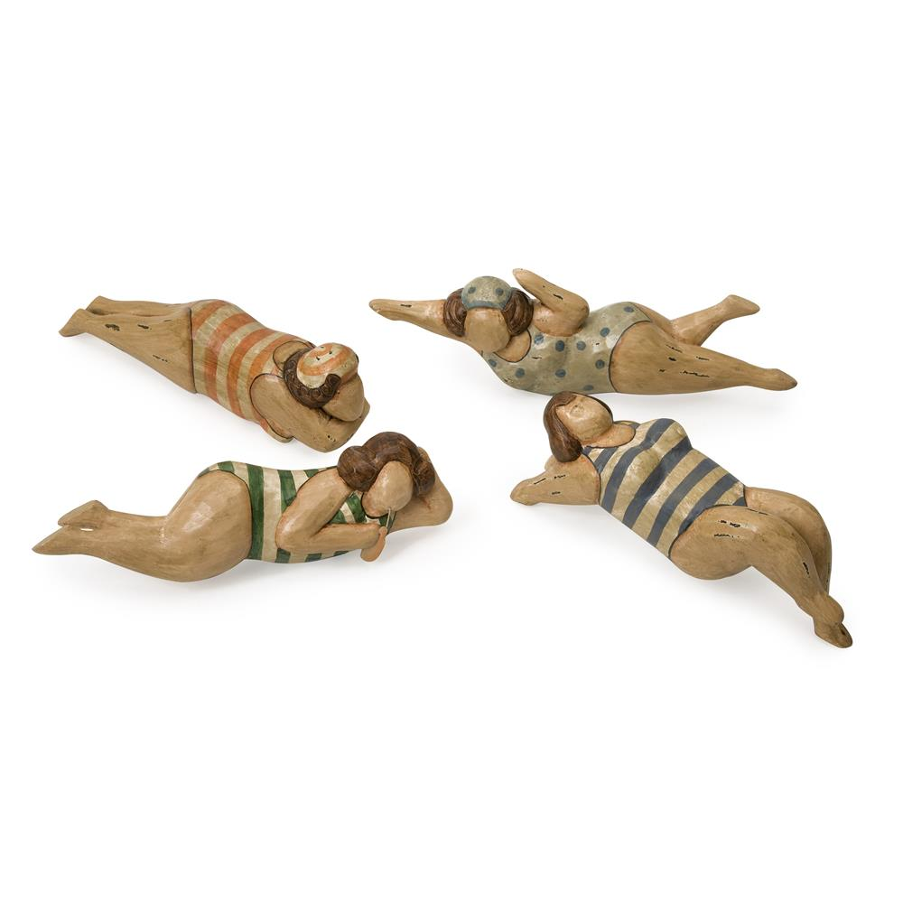 IMAX 22000-4 Bathing Beauties in Natural Wood - Set of 4