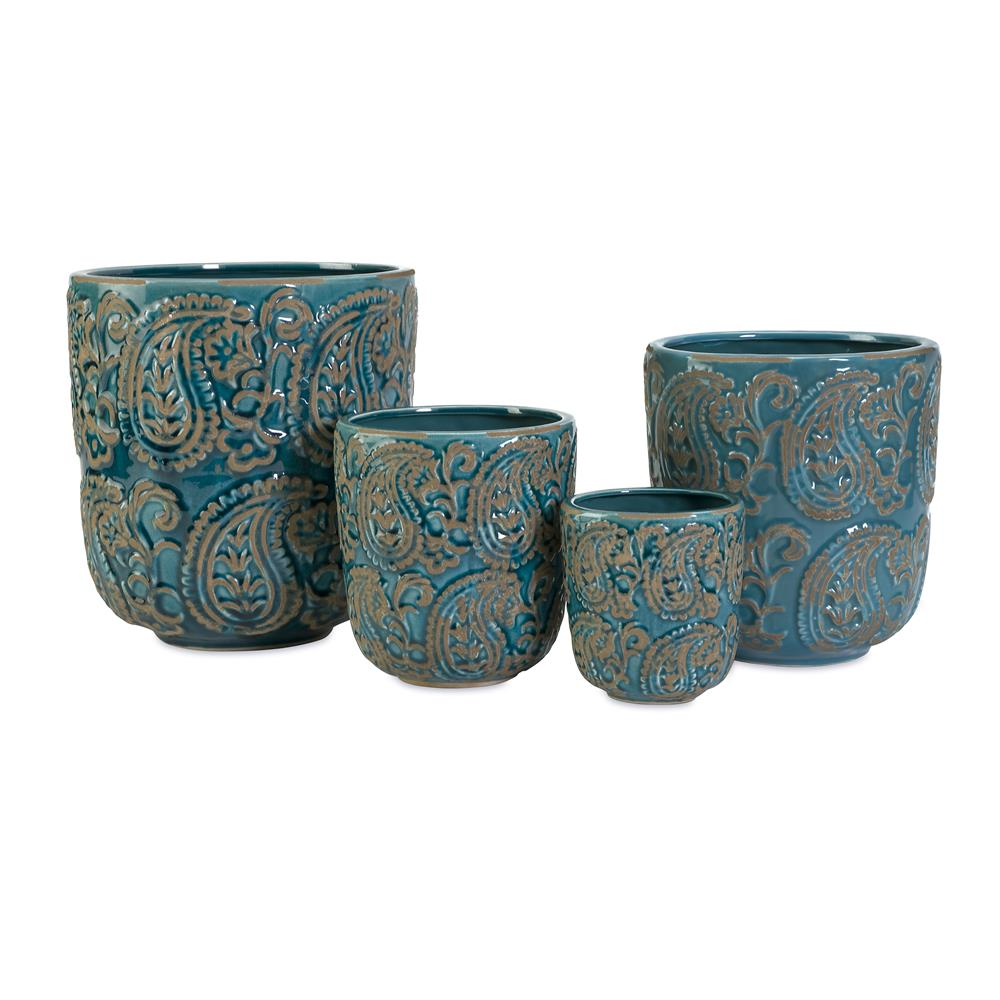 IMAX 64329-4 Paisley Blue Planters - Set of 4