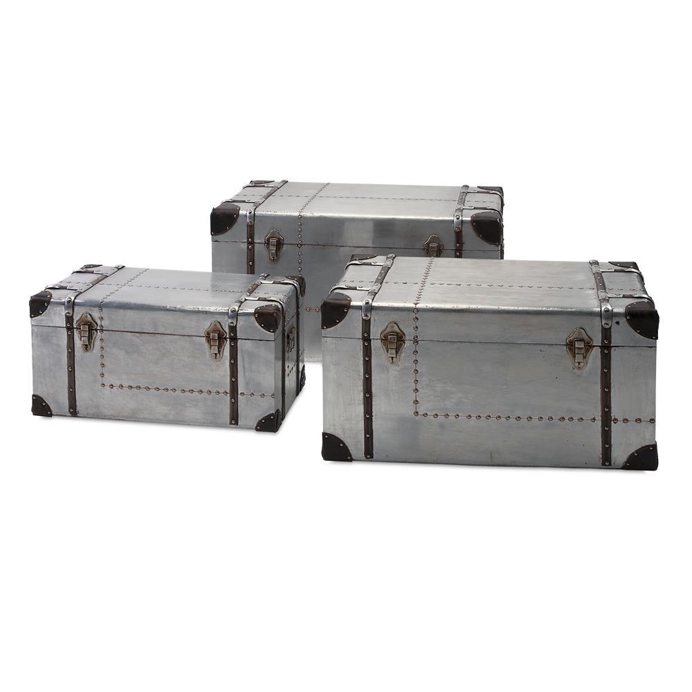 IMAX 74408-3 Brewer Aluminum Trunks - Set of 3