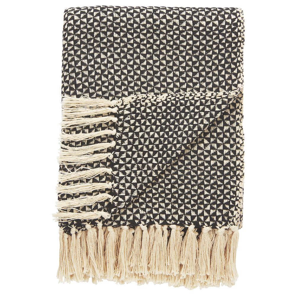 "Jaipur Rugs NTH03 National Geographic Throws Tribal Pattern Black/White Cotton Thow ( 50""X60"")"