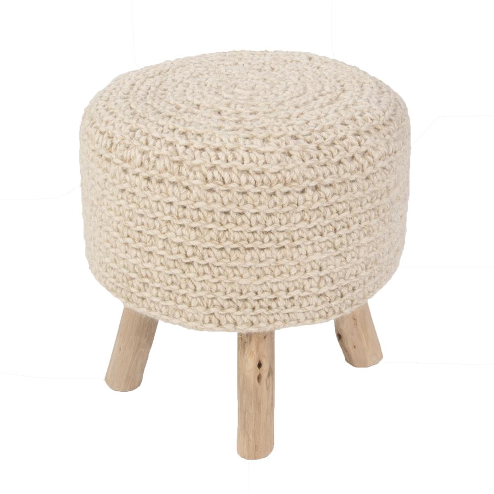 "Jaipur Rugs WES01 Solid Pattern Neutral Wool Pouf - (16""x16""x16"")"