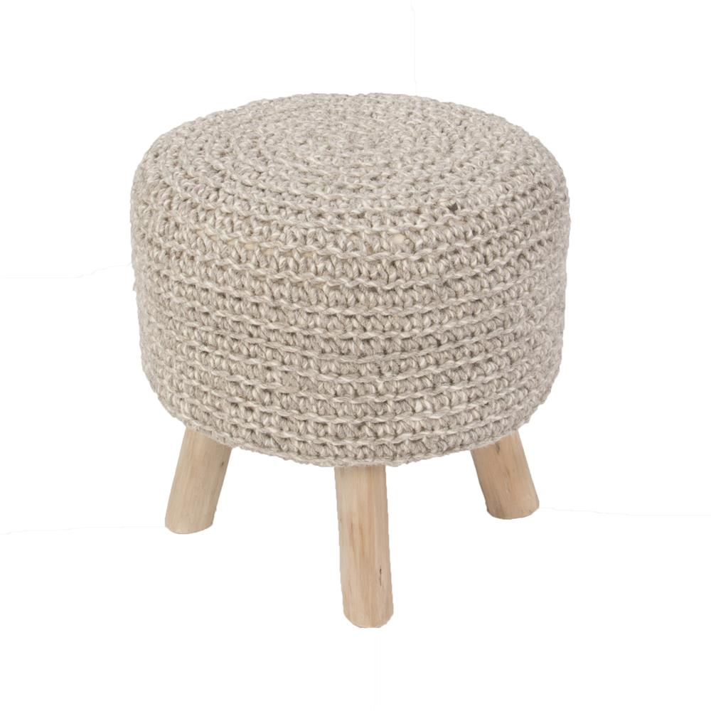 "Jaipur Rugs WES02 Solid Pattern Neutral Wool Pouf - (16""x16""x16"")"