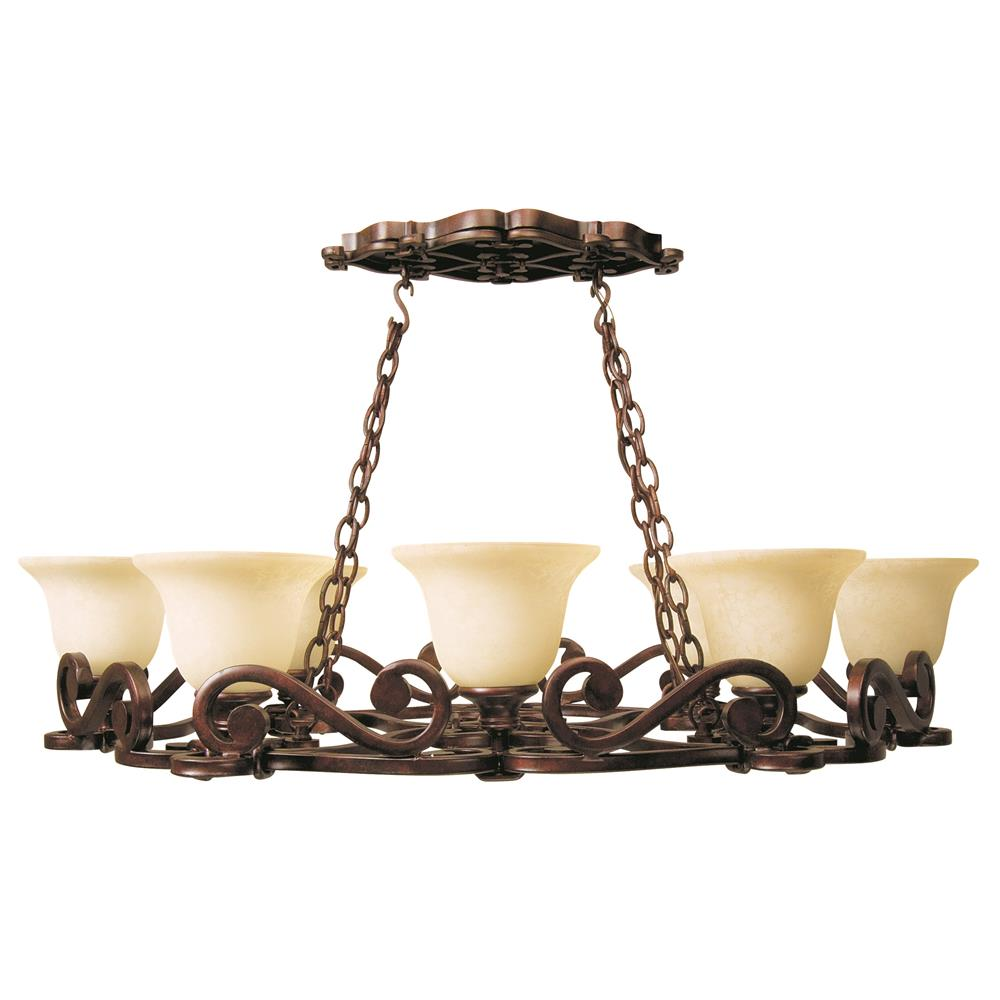 Craftmade 9138PR8 Toscana 8 Light Pot Rack in Peruvian Bronze with Antique Scavo Glass