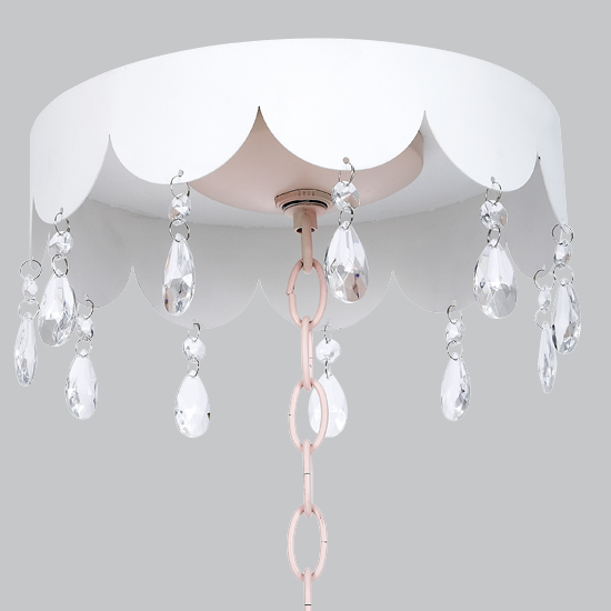 Jubilee Collection CM02 Ceiling Scalloped Medallion with Crystals in White