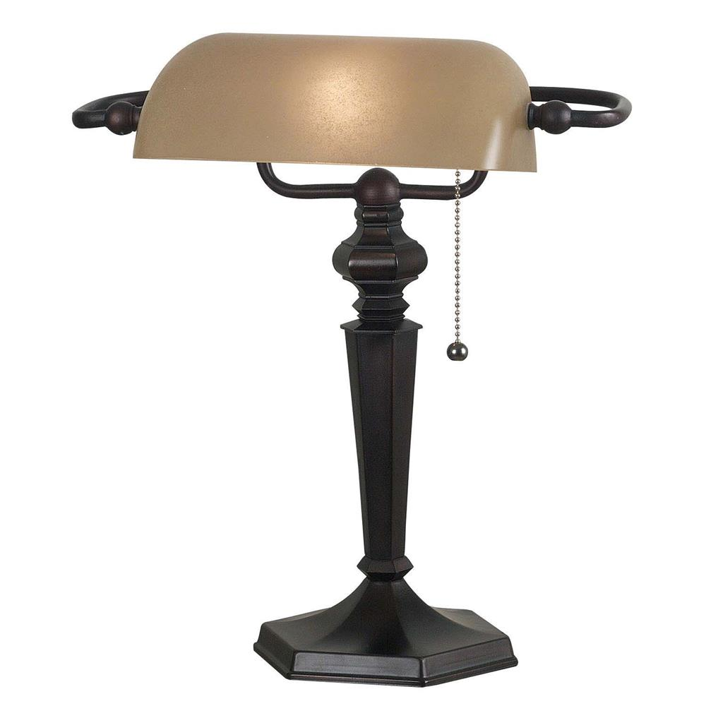 Kenroy Home 20610ORB Chesapeake Banker Lamp in Oil Rubbed Bronze Finish