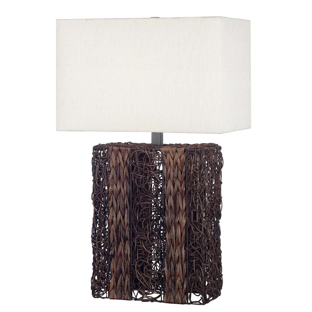 Kenroy Home 20976DW Whistler Table Lamp in Dark Wicker Finish