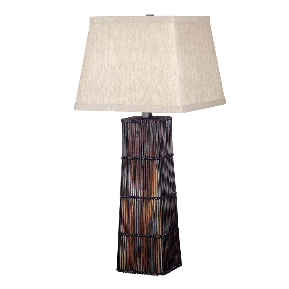 Kenroy Home 20977DRT Wakefield Table Lamp in Dark Rattan Finish
