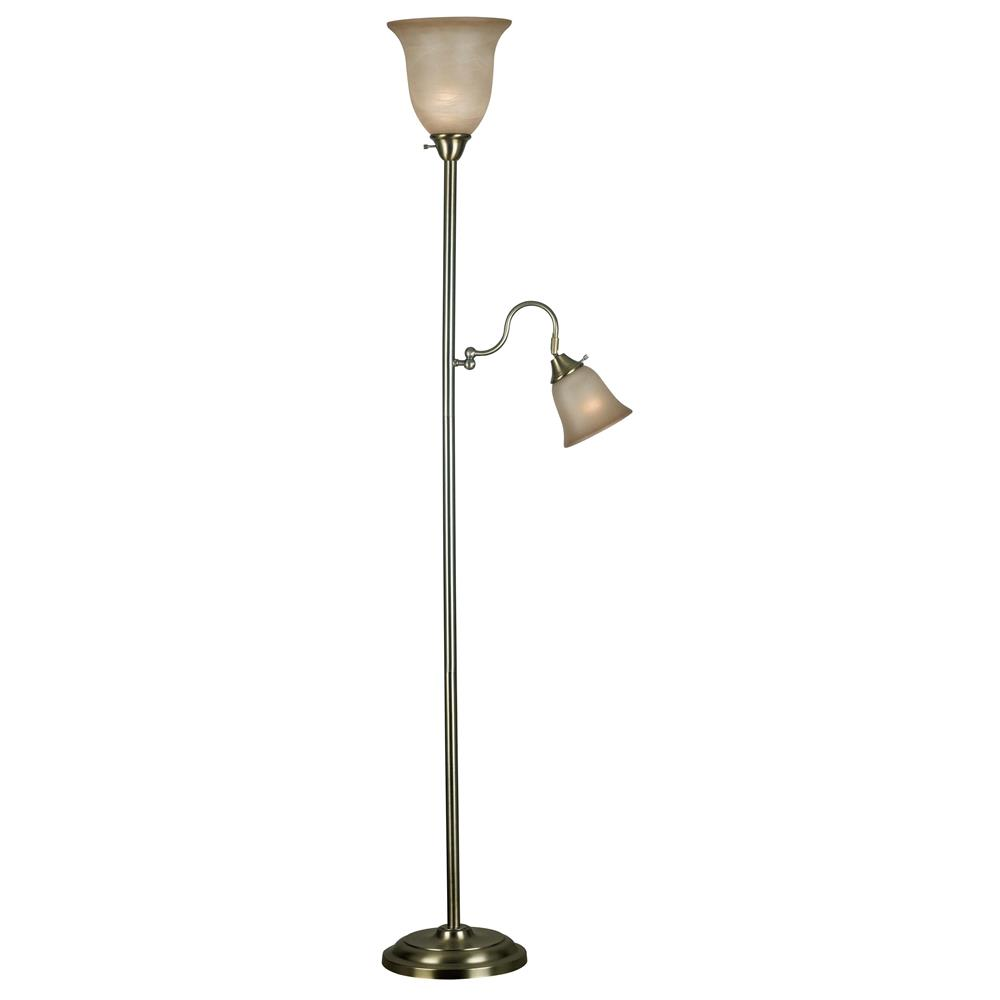 Kenroy Home 20989VB Horton Torchiere in Vintage Brass Finish
