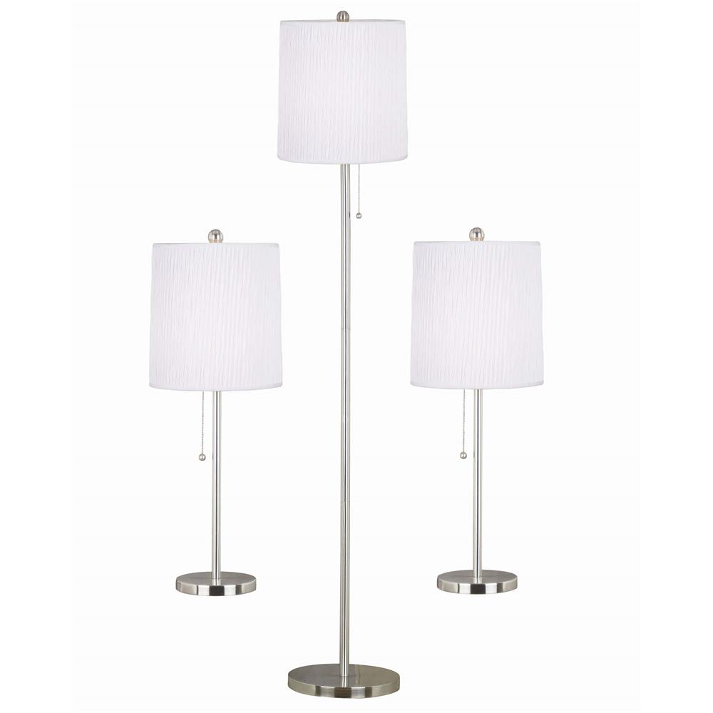 Kenroy Home 21016BS Selma 3-Pack Table/Floor Lamp in Brushed Steel Finish