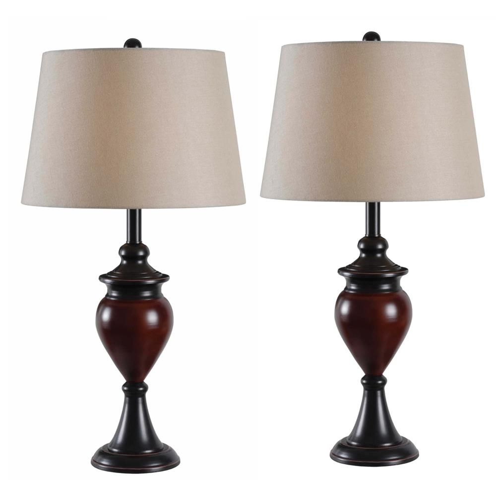 Kenroy Home 32592ORBS Elliot 2-Pack Table Lamp in Oil Rubbed Bronze Finish with  Sienna Accents