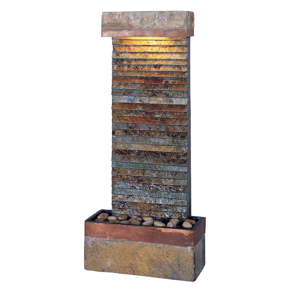 Kenroy Home 50290SLCOP Tacora Horizontal Fountain In Natural Slate Finish With Copper Accents