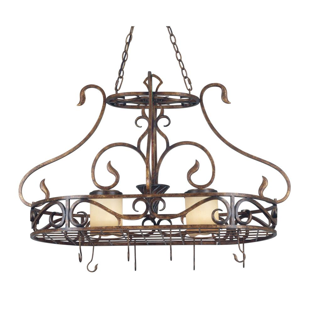 Kenroy Home 90505AGC Verona 2 Light Pot Rack in Aged Golden Copper Finish