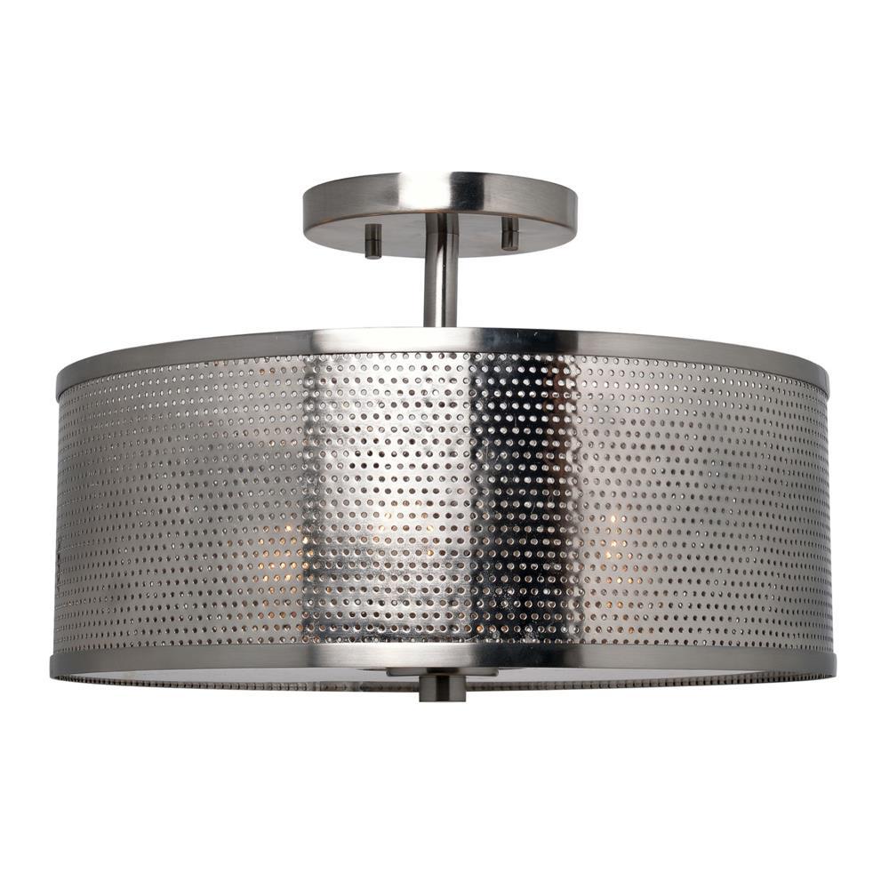 93458BS Kenroy 93458BS Mesha 3 Light Semi Flush Mount in Steel