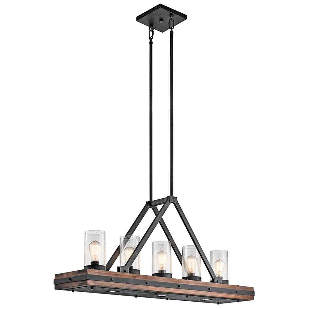 Kichler 43491AUB Auburn Stained Finish Linear Chandelier 5Lt