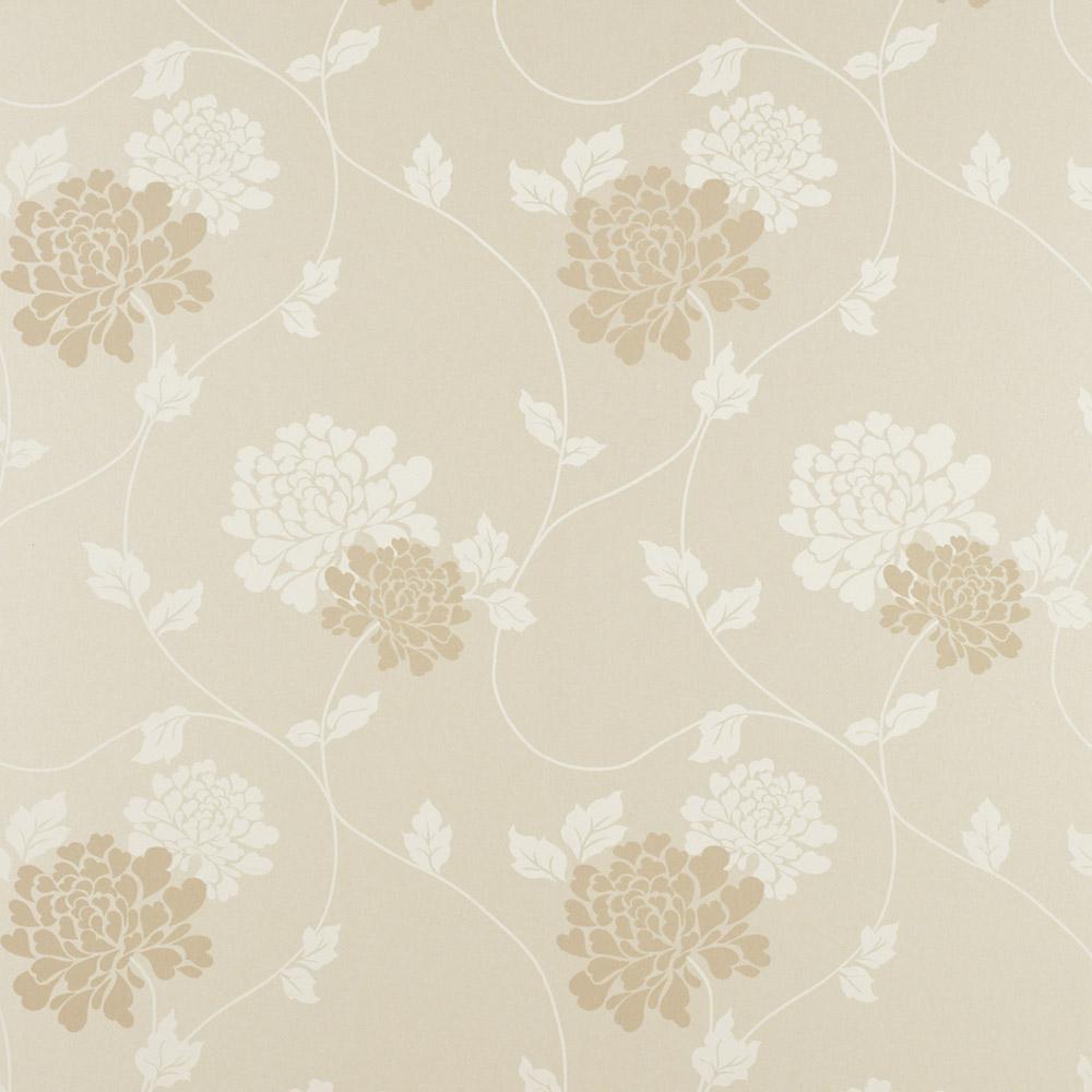 Laura Ashley 3358866 Isodore Linen Pearl Wallpaper