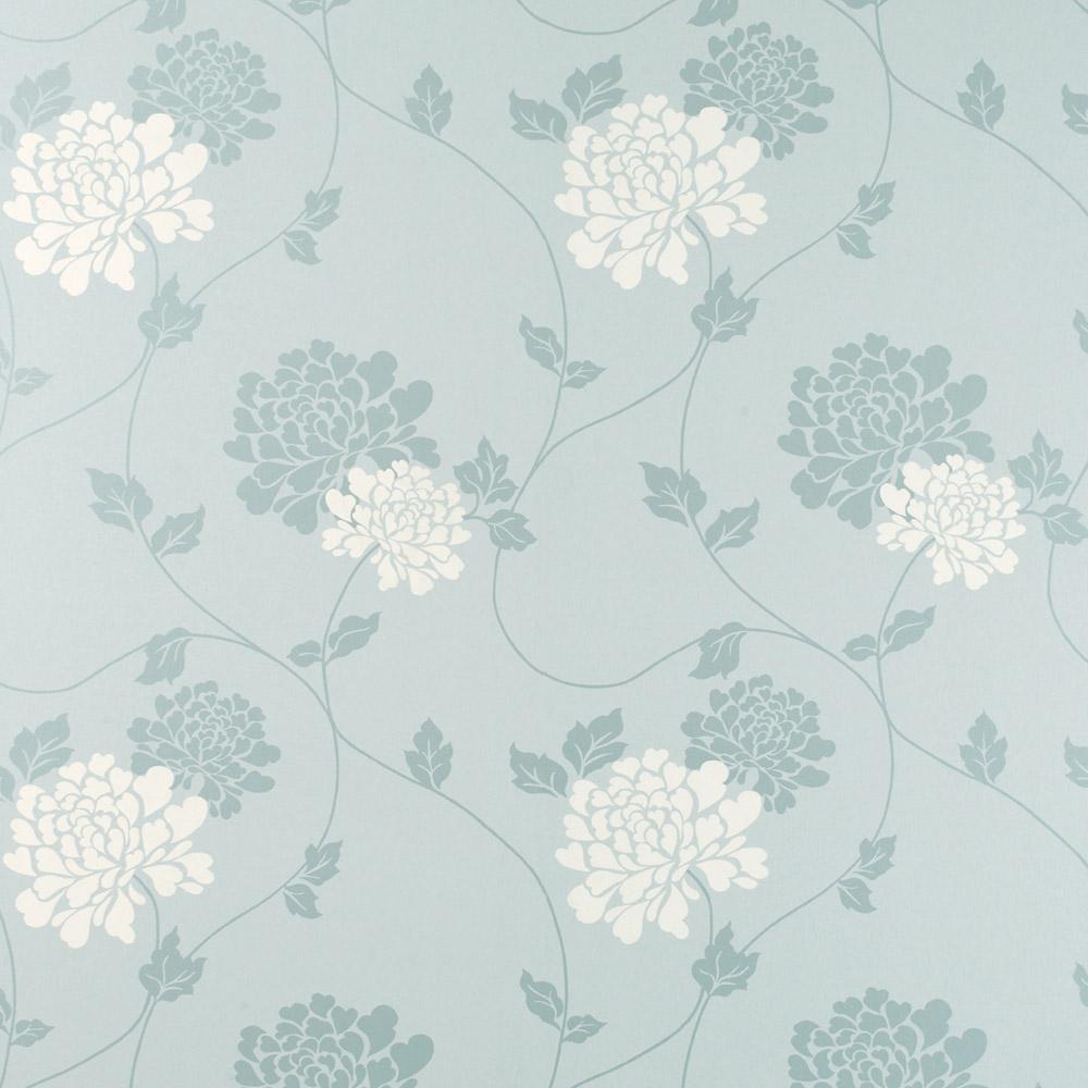 Laura Ashley 3443074 Isodore Duck Egg/White Wallpaper