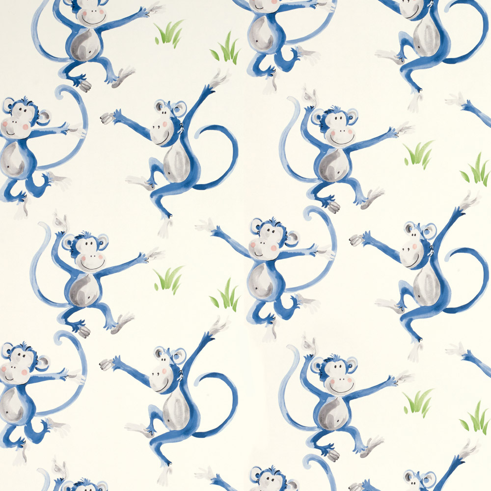 Laura Ashley 3622324 Cheeky Monkey Blue Wallpaper