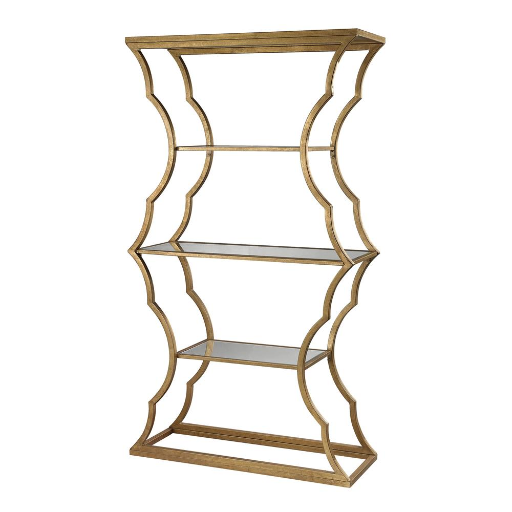 Dimond Home by Elk 114-111 Metal Cloud Bookcase  in Antique Gold Leaf / Mirror