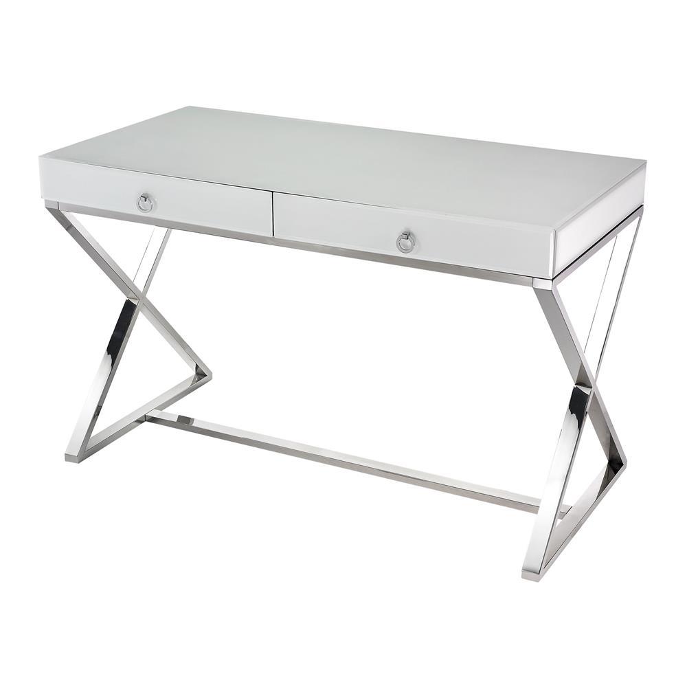 Dimond Home by Elk 1141105 White Glass Desk in White / Chrome