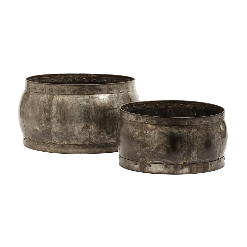 Dimond Home by Elk 135007 Fortress Barrel Dishes - Set Of 2 in Distressed Silver