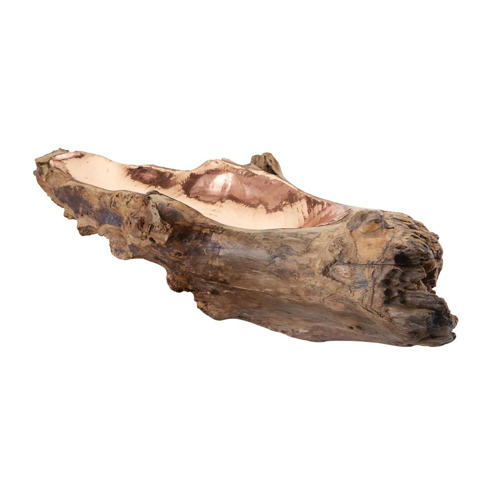 Dimond Home by Elk 162-012 Long Teak Root Bowl With Copper Insert in Natural Teak / Copper