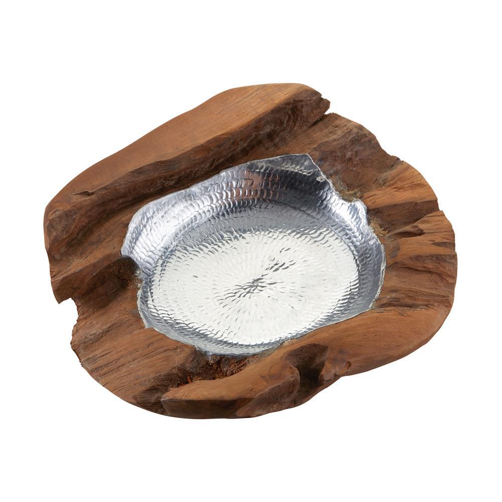 Dimond Home by Elk 162-015 Medium Round Teak Bowl With Aluminum in Natural Teak / Aluminum