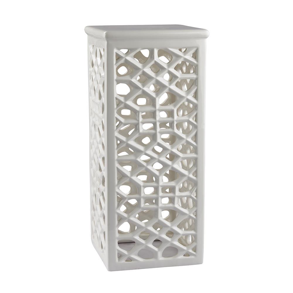 Dimond Home by Elk 167-013 Pierced Ceramic Garden Stool in Gloss White