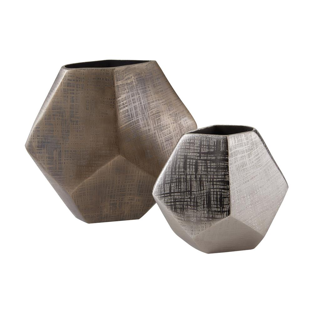Dimond Home by Elk 178-028/S2 Faceted Cube Vases in Matt Bronze / Matte Aluminum
