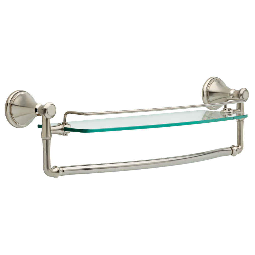 "Liberty Hardware 79710-SS Cassidy 18"" Glass Shelf with Bar, 1 per pkg"
