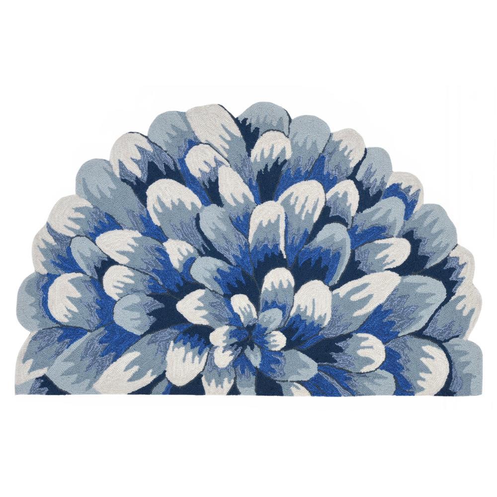 """Liora Manne 1828/03 Frontporch Mum Indoor/Outdoor Rug Blue 20""""X30"""" 1/2 RD"""
