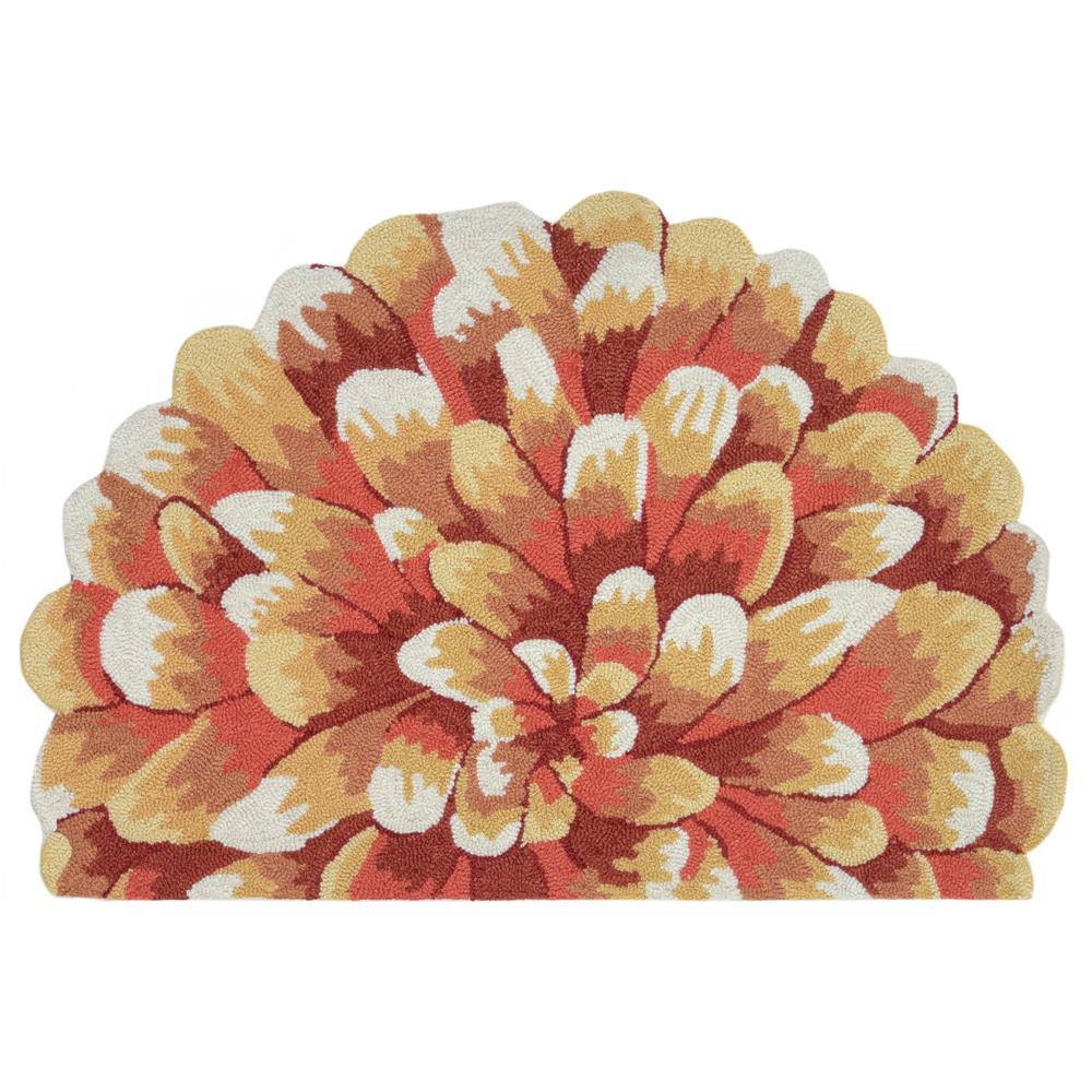 """Liora Manne 1828/17 Frontporch Mum Indoor/Outdoor Rug Orange 20""""X30"""" 1/2 RD"""