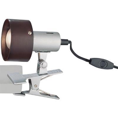 Lite Source LS-21090 Clip-on Lamp, Silver, Dark Walnut Shade, E17 Type R 40w