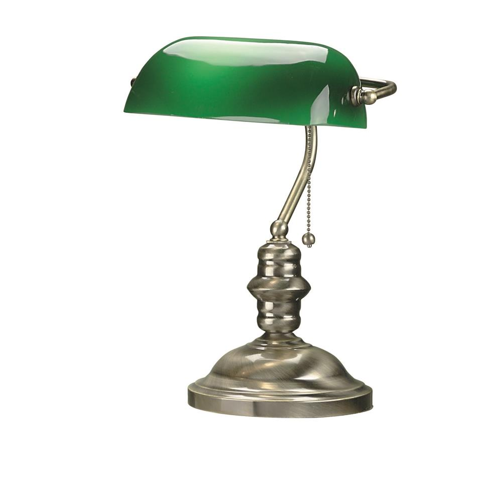 Lite Source LS-224AB Banker 1 Light CFL Desk Lamp in Antique Brass with Green Glass Shade