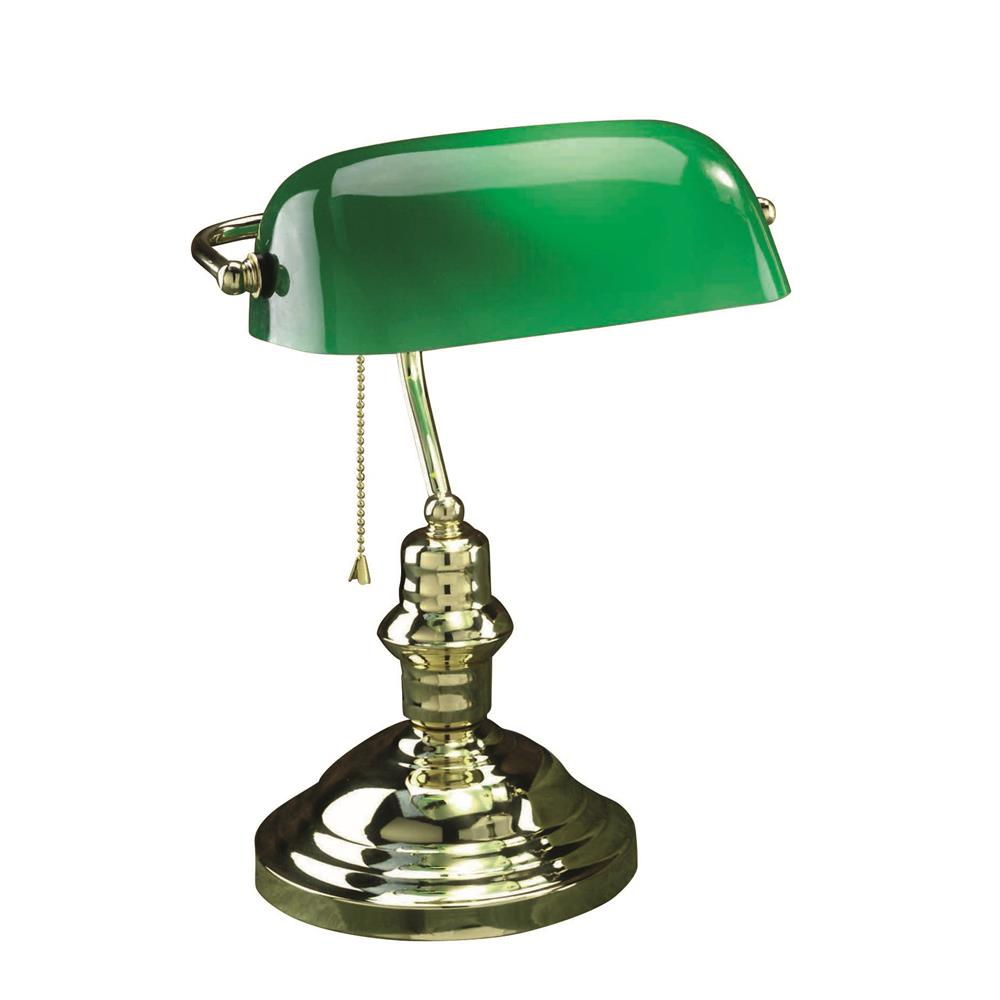 Lite Source LS-224PB Banker 1 Light CFL Desk Lamp in Polished Brass with Green Glass Shade