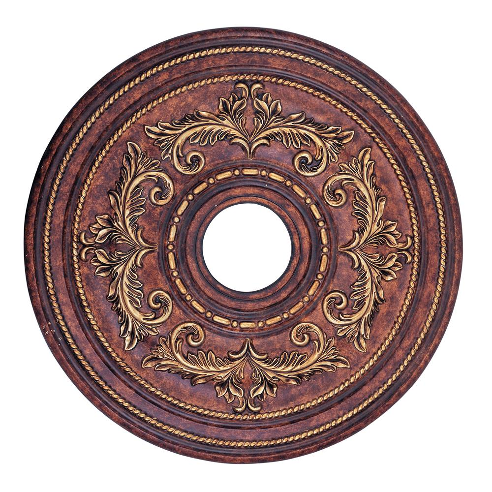 Livex Lighting 8200-63 Ceiling Medallion Ceiling Medallion in Verona Bronze with Aged Gold Leaf Accents
