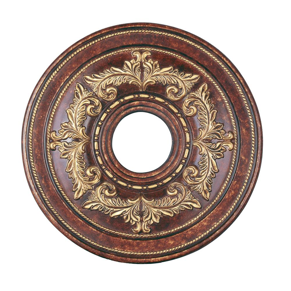 Livex Lighting 8205-63 Ceiling Medallion Ceiling Medallion in Verona Bronze with Aged Gold Leaf Accents