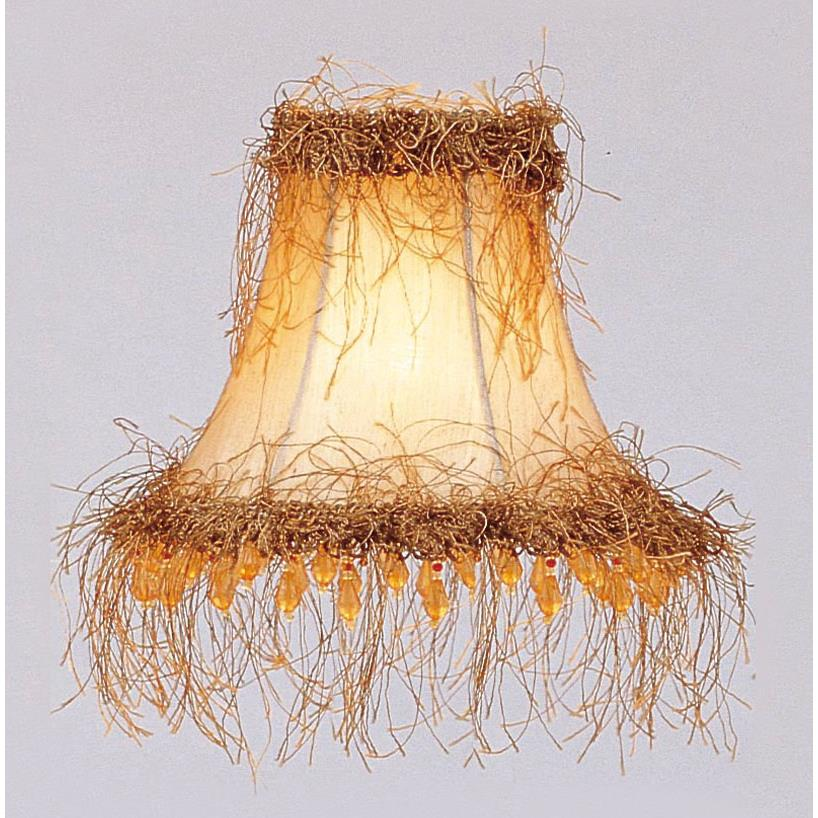 Livex Lighting S112 Chandelier Shade Champagne Silk Bell Clip Shade with Light Corn Silk Fringe and Beads